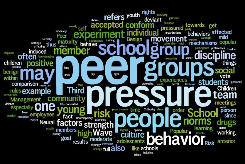 the impact of peer pressure and Peer pressure (or social pressure) is the direct influence on people by peers, or the effect on an individual who gets encouraged to follow their peers by changing.