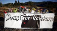Memorial flowers are seen outside Umpqua Community College in Roseburg