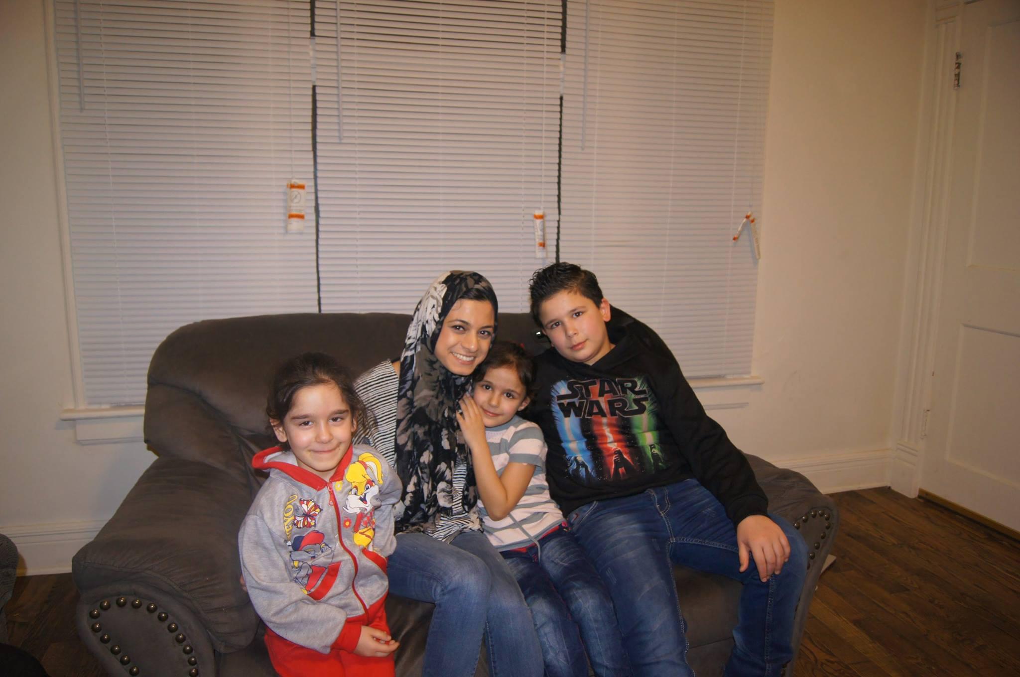 Noor with Shama, Shahd and Zakarya