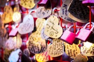Love Locks in Covent Garden, supporting the British Heart Foundation.