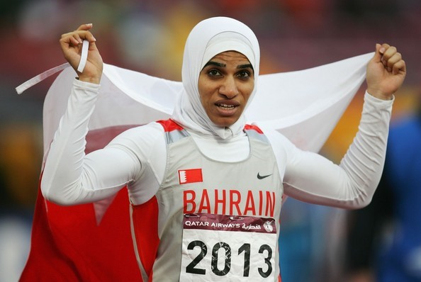 "Bahrain's Olympic short distance running champion, Ruqaya Al Ghasara competes in her ""Hijood"""